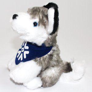Husky Stuffed Animal Grey and Blue Bandana